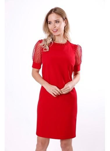 Clıche Yakası ve Kol Evleri Boncuk İşlemeli Dantel Detaylı Elbise  Kırmızı